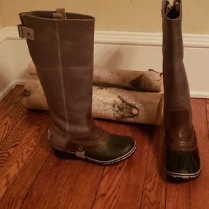 New Sorel Slimpack Riding Tall Boots shale sz 7.5